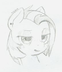 Size: 915x1053   Tagged: safe, artist:trickydick, babs seed, pony, bust, ear piercing, earring, female, filly, jewelry, lidded eyes, monochrome, open mouth, piercing, sketch, solo, traditional art, unamused