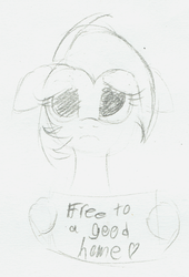 Size: 1119x1644 | Tagged: safe, artist:wenni, babs seed, pony, female, filly, floppy ears, hoof hold, monochrome, sad, sign, sketch, solo, traditional art
