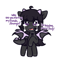 Size: 2000x2000 | Tagged: safe, artist:angelbeat-drift, oc, oc only, oc:endie, dracony, dragon, hybrid, pony, crying, enderdragon, female, horns, looking at you, mare, minecraft, ponified, raised hoof, ribbon, simple background, solo, speech, spikes, white background, wings