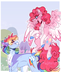 Size: 768x911 | Tagged: artist:wanderingpegasus, female, lesbian, mare, pinkiedash, pinkie pie, pony, race swap, rainbow dash, safe, shipping, smiling