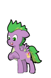 Size: 2821x4253 | Tagged: artist:chedx, comic:claws and hooves, floppy ears, pegasus, ponified, ponified spike, pony, raised hoof, safe, shocked, simple background, solo, species swap, spike, transparent background