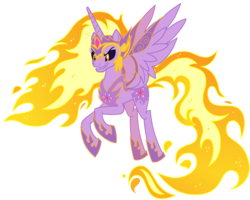 Size: 1600x1280 | Tagged: safe, edit, editor:lyinx, twilight sparkle, alicorn, pony, armor, crown, female, flying, horn, jewelry, mane of fire, nightmare twilight, nightmarified, not daybreaker, older, older twilight, princess twilight 2.0, rapidash twilight, recolor, regalia, simple background, solo, spread wings, tail of fire, transparent background, twilight sparkle (alicorn), ultimate twilight, wing armor, wings