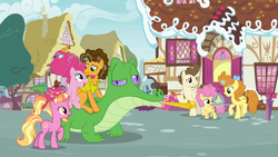 Size: 1920x1080 | Tagged: safe, screencap, cheese sandwich, gummy, li'l cheese, luster dawn, pinkie pie, pound cake, pumpkin cake, alligator, earth pony, pegasus, pony, unicorn, season 9, the last problem, adventure in the comments, cake twins, canon ship, cheese sandwich riding gummy, cheesepie, cuddling, female, filly, glowing horn, horn, husband and wife, it happened, looking at each other, magic, male, mare, older, older gummy, older pound cake, older pumpkin cake, open mouth, party horn, pinkie pie riding gummy, ponies riding gators, pony history, riding, shipping, siblings, stallion, straight, telekinesis, twins