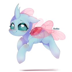 Size: 900x900 | Tagged: safe, artist:snow angel, ocellus, changedling, changeling, cute, diaocelles, female, flying, looking at you, simple background, smiling, solo, watermark, white background