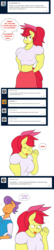 Size: 1188x5466 | Tagged: ..., abs, anthro, apple bloom, apple brawn, artist:matchstickman, biceps, blushing, breasts, busty apple bloom, clothes, comic, deltoids, dialogue, duo, earth pony, embarrassed, female, looking at you, male, mare, matchstickman's apple brawn series, muscles, older, older apple bloom, safe, shipping, stallion, straight, talking to viewer, tenderbloom, tender taps, tumblr comic, tumblr:where the apple blossoms