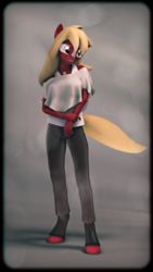Size: 2160x3840 | Tagged: 3d, 4k, anthro, artist:imafutureguitarhero, blaze (coat marking), blouse, boots, border, chromatic aberration, clothes, colored eyebrows, cute, discolored, earth pony, female, film grain, fingerprint, floppy ears, high res, long hair, mare, nexgen, nose wrinkle, oc, ocbetes, oc:magnolia, oc only, pants, photo, safe, scratches, shoes, signature, smiling, solo, source filmmaker, tanktop, unguligrade anthro, vertical, windswept tail