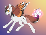 Size: 1616x1260 | Tagged: safe, artist:serafima-aka-sefa, oc, oc:creative nickname, pegasus, pony, colored, flat colors, hand, magic, ponified, solo, tail, tail pull, wings