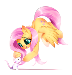 Size: 872x900 | Tagged: safe, artist:snow angel, fluttershy, mouse, pegasus, pony, cute, female, mare, shyabetes, smiling