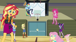 Size: 1920x1080 | Tagged: safe, screencap, applejack, fluttershy, pinkie pie, rainbow dash, rarity, sci-twi, sunset shimmer, twilight sparkle, do it for the ponygram!, equestria girls, equestria girls series, spoiler:eqg series (season 2), basketball, basketball net, bleachers, canterlot high, converse, epic win, female, geode of empathy, geode of shielding, geode of sugar bombs, geode of super speed, geode of super strength, geode of telekinesis, gym, magic, magical geodes, nailed it, ponied up, shoes, sneakers, sports, volleyball