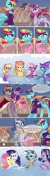 Size: 1698x6000 | Tagged: alicorn, alicorn oc, alicorn princess, artist:xjenn9, canterlot, canterlot castle, cape, cheerilee, clothes, comic, comic:fusing the fusions, comic:time of the fusions, commissioner:bigonionbean, earth pony, embracing, father and daughter, female, fluttershy, fusion, fusion:king speedy hooves, fusion:princess mythic majestic, fusion:princess sincere scholar, fusion:queen galaxia, horrified, husband and wife, magic, male, mare, ms. harshwhinny, nuzzling, oc, oc:dalorance, oc:king speedy hooves, oc:princess mythic majestic, oc:princess sincere scholar, oc:queen galaxia, oc:shapirlic, pegasus, pony, rarity, royalty, safe, scared, spitfire, stallion, starlight glimmer, thought bubble, trixie, unicorn, writer:bigonionbean, zecora