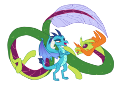 Size: 1491x1047 | Tagged: changedling, changeling, chinese dragon, derpibooru exclusive, dragon, dragonified, edit, editor:proto29, embrax, female, hybrid, king thorax, male, mare, princess ember, safe, shipping, simple background, species swap, straight, thorax, transformation, transparent background, white background