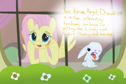 Size: 2400x1600 | Tagged: angel bunny, animal, artist:mightyshockwave, blushing, female, fluttershy, fluttershy's cottage, gagging, implied discoshy, implied shipping, implied straight, male, pegasus, pony, rabbit, safe, she talks to angel, spoiler:s09e18, straight, tongue out