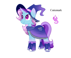 Size: 988x809 | Tagged: artist:forteycat-adopts, boots, clothes, female, freckles, hat, magical lesbian spawn, magician, magician outfit, mare, oc, oc only, oc:sparkling smoke, offspring, parents:twixie, parent:trixie, parent:twilight sparkle, pony, robe, safe, scarf, shoes, simple background, socks, solo, transparent background, unicorn, witch hat