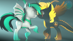 Size: 3840x2160 | Tagged: 3d, alicorn, alicorn oc, artist:archiesfm, clothes, cute, dracony, dracony alicorn, ear fluff, happy, horns, hybrid, love, mirror, nuzzles, oc, oc:archie cloud, oc:phoenix stardash, safe, scales, scar, scarf, slit eyes, source filmmaker, spikes, volumetric light, watermark, weapons-grade cute
