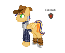 Size: 988x809 | Tagged: armor, artist:forteycat-adopts, boots, cowboy boots, cowboy hat, flannel, hat, magical gay spawn, male, multicolored hair, oc, oc:feather hastam, oc only, offspring, parent:braeburn, parent:flash sentry, parents:flashburn, pegasus, pony, safe, shoes, simple background, solo, stallion, transparent background
