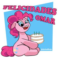 Size: 2869x2906 | Tagged: safe, artist:darka01, pinkie pie, earth pony, pony, cake, female, food, happy birthday, solo, spanish