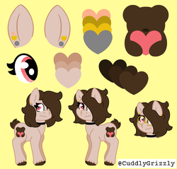 Size: 2330x2230 | Tagged: safe, artist:cuddlygrizzly, oc, oc only, oc:bear hugger, bear, earth pony, pony, choker, female, glasses, hug, mare, piercing, reference sheet, solo