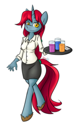 Size: 1329x2160 | Tagged: anthro, anthro oc, artist:spheedc, beverage, clothes, digital art, drink, oc, oc:talayeh, safe, simple background, solo, transparent background, tray, unicorn