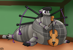 Size: 2746x1892 | Tagged: artist:the-furry-railfan, bagpipe dragon, bagpipes, belly, bow (instrument), cello, cello bow, dragon, dragonified, impossibly large belly, indoors, inflation, musical instrument, octavia melody, original species, safe, sitting, species swap, squishy, story included, surprised, tartan, transformation