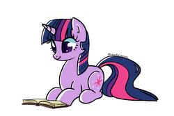 Size: 1280x853   Tagged: safe, artist:syrupyyy, twilight sparkle, pony, unicorn, book, cute, female, mare, prone, reading, simple background, smiling, solo, twiabetes, unicorn twilight, white background
