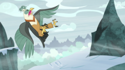Size: 1920x1080 | Tagged: safe, screencap, queen chrysalis, bird, roc, frenemies (episode), spoiler:s09e08, disguise, disguised changeling, eyes closed, female, snow, solo, wind
