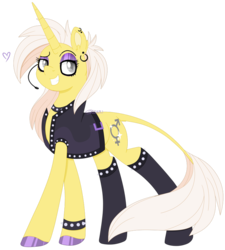 Size: 800x887 | Tagged: artist:shiiazu, bracelet, choker, clothes, colored pupils, cutie mark, ear piercing, eyebrows, eyeshadow, femboy, grin, hoof polish, hooves, jewelry, leggings, leonine tail, makeup, male, microphone, oc, oc only, oc:sunset skies, outfit, piercing, pose, raised eyebrow, safe, signature, simple background, smiling, solo, spikes, transparent background, unicorn