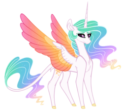 Size: 1600x1429   Tagged: safe, artist:australian-senior, princess celestia, alicorn, pony, kirindos, alternate universe, chest fluff, colored hooves, colored wings, colored wingtips, ethereal mane, female, gradient wings, leonine tail, looking at you, mare, multicolored wings, simple background, smiling, solo, sparkles, standing, transparent background, wings
