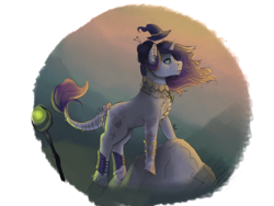 Size: 2048x1536 | Tagged: safe, artist:mad-maker-cat, oc, oc:evanora, pony, unicorn, female, hat, mare, solo, staff, witch hat