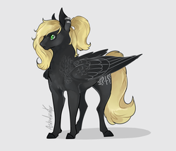 Size: 4300x3700 | Tagged: artist:astralwinter, female, fluffy, horse, mare, oc, oc only, oc:veen sundown, pegasus, piercing, realistic horse legs, safe, simple background, solo