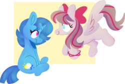 Size: 1280x859 | Tagged: angel wings, artist:silly pony doodles, crack shipping, female, lesbian, mare, pegasus, pony, safe, shipping, simple background, spring rain, springwings, transparent background, unicorn