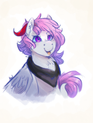 Size: 1800x2400 | Tagged: safe, artist:mad-maker-cat, oc, pegasus, pony, bust, female, horns, mare, portrait, solo, tongue out
