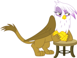 Size: 5000x3797 | Tagged: absurd res, artist:dashiesparkle, gilda, griffon, safe, simple background, solo, stool, .svg available, the hearth's warming club, transparent background, vector