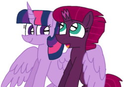 Size: 1414x993 | Tagged: alicorn, alternate version, artist:徐詩珮, background removed, broken horn, female, fizzlepop berrytwist, horn, hug, lesbian, mare, pony, safe, shipping, simple background, tempestlight, tempest shadow, transparent background, twilight sparkle, twilight sparkle (alicorn), unicorn, vector, winghug