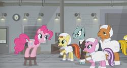 Size: 1366x738 | Tagged: clipboard, clothes, crate, factory, gag factory, glasses, lights, pencil, pinkie pie, pony, safe, sans smirk, screencap, spoiler:s09e14, stool, suit, the last laugh, white coat, worker