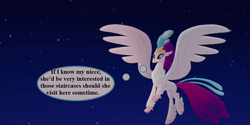 Size: 1152x576 | Tagged: cropped, edit, edited screencap, implied silverstream, my little pony: the movie, queen novo, safe, screencap, text, thought bubble