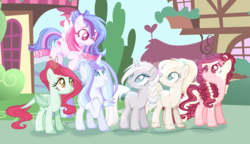 Size: 2720x1568 | Tagged: safe, artist:6-fingers-lover, artist:selenaede, oc, oc only, oc:angel blue, oc:heartbeat, oc:lucky hoof (6-fingers-lover), oc:poison ivy, oc:sugar cane, oc:white diamond, dracony, earth pony, hybrid, pegasus, pony, unicorn, base used, choker, female, interspecies offspring, magical lesbian spawn, mare, nose piercing, nose ring, offspring, parent:applejack, parent:derpy hooves, parent:double diamond, parent:fluttershy, parent:pinkie pie, parent:princess ember, parent:rainbow dash, parent:rarity, parent:sugar belle, parent:twilight sparkle, parents:derpity, parents:doublejack, parents:embershy, parents:sugarpie, parents:twidash, piercing