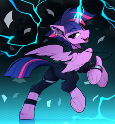Size: 2100x2255 | Tagged: safe, artist:yakovlev-vad, twilight sparkle, alicorn, pony, alternate hairstyle, bad student, badass, bracelet, butt, clothes, female, growling, jewelry, lightning, mare, pants, piercing, plot, punklight sparkle, scarf, see-through, solo, tail holder, twibutt, twilight sparkle (alicorn), underhoof