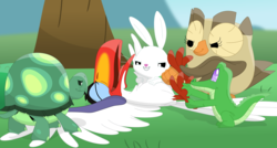 Size: 3537x1899 | Tagged: alligator, angel bunny, animal, artist:porygon2z, bird, crossover, disney, gummy, hornbill, owl, owlowiscious, rabbit, safe, tank, the lion king, tickle torture, tickling, tortoise, zazu
