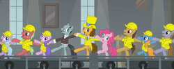 Size: 1830x734 | Tagged: safe, composite screencap, edit, edited screencap, screencap, cheese sandwich, giggleberry, lavender chuckle, pinkie pie, pun twirl, sans smirk, earth pony, pony, the last laugh, clothes, conveyor belt, dancing, factory, female, gag factory, glasses, group, hard hats, hat, holding hooves, male, mare, panorama, stallion, top hat, tuxedo, window, worker