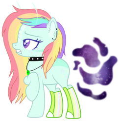 Size: 2533x2610 | Tagged: alien, antennae, artist:tortured-smile0w0, boots, choker, ear piercing, earring, earth pony, female, heart eyes, jewelry, mare, multicolored hair, necklace, oc, oc:ivy star, oc only, piercing, pony, rainbow hair, raised hoof, safe, shoes, simple background, solo, spiked choker, transparent background, wingding eyes