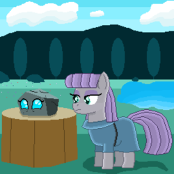 Size: 3766x3766 | Tagged: artist:superhypersonic2000, disguise, disguised changeling, duo, maud pie, ocellus, pixel art, rock, rockellus, safe, spoiler:s09e03, tree stump, uprooted