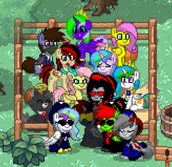Size: 328x318 | Tagged: alicorn, alicorn oc, bat pony, bat pony oc, clothes, group shot, hybrid, hybrid oc, oc, pegasus, pegasus oc, pony, pony town, safe, screencap