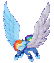 Size: 833x959 | Tagged: alternate timeline, alternate universe, amputee, apocalypse dash, artificial wings, artist:vanillaswirl6, augmented, crystal war timeline, female, large wings, mechanical wing, pony, prosthetics, rainbow dash, redraw, safe, simple background, solo, spread wings, the cutie re-mark, transparent background, wings