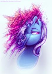 Size: 1200x1700 | Tagged: safe, artist:jadekettu, trixie, pony, unicorn, crystal, female, lidded eyes, simple background, solo, surreal, white background