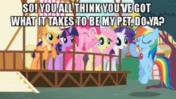 Size: 640x360 | Tagged: applejack, artist:masem, baseball cap, cap, caption, edit, edited screencap, flight to the finish, fluttershy, hat, image macro, may the best pet win, pinkie pie, rainbow dash, rainbow dash gets all the mares, rarity, safe, screencap, simple background, text, twilight sparkle, vector, whistle