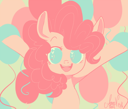 Size: 500x425 | Tagged: safe, artist:laceymod, pinkie pie, pony, balloon, cute, diapinkes, green background, heart eyes, looking at you, no pupils, open mouth, simple background, solo, wingding eyes