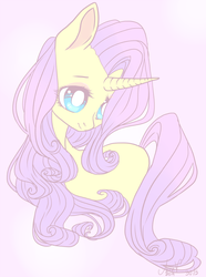 Size: 800x1078 | Tagged: safe, artist:laceymod, fluttershy, rarity, pony, unicorn, female, flarity (fusion), fusion, mare, simple background, solo