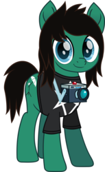 Size: 543x887   Tagged: safe, artist:lightningbolt, derpibooru exclusive, earth pony, pony, .svg available, bring me the horizon, camera, clothes, happy, looking at you, male, movie accurate, ponified, shirt, simple background, smiling, solo, stallion, svg, t-shirt, tom sykes, transparent background, vector