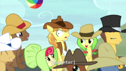 Size: 1280x722 | Tagged: apple bumpkin, apple fritter, appleoosa's most wanted, beach ball, blues, braeburn, caramel, cherry cola, cherry fizzy, meadow song, noteworthy, safe, screencap