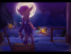 Size: 3000x2300   Tagged: safe, artist:foxleepy, oc, oc only, oc:dawn sentry, bat pony, pony, armor, bat wings, campfire, claws, female, guarding, mare, moon, night guard, night guard armor, wings
